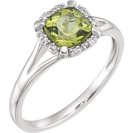 White Gold Peridot and Diamond Ring (RGJ651952-60008) Angled