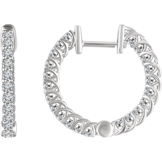 Diamond Hoop Earrings (RGJ652854) 14kt White Gold
