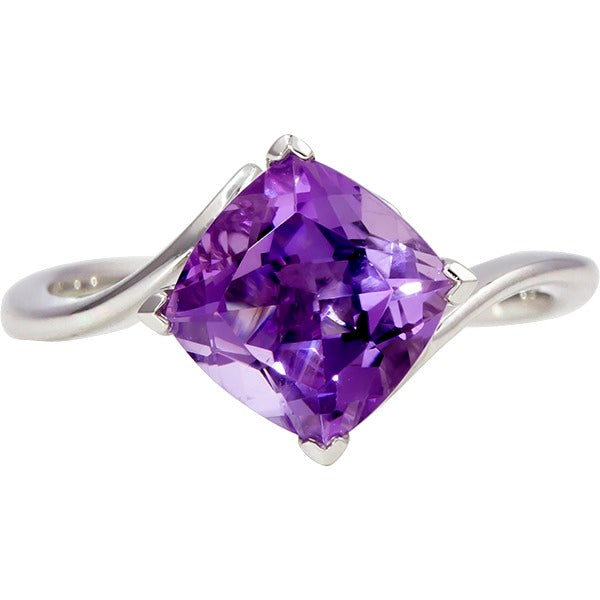 Amethyst Bypass White Gold Ring (RGJ10010-02) Top