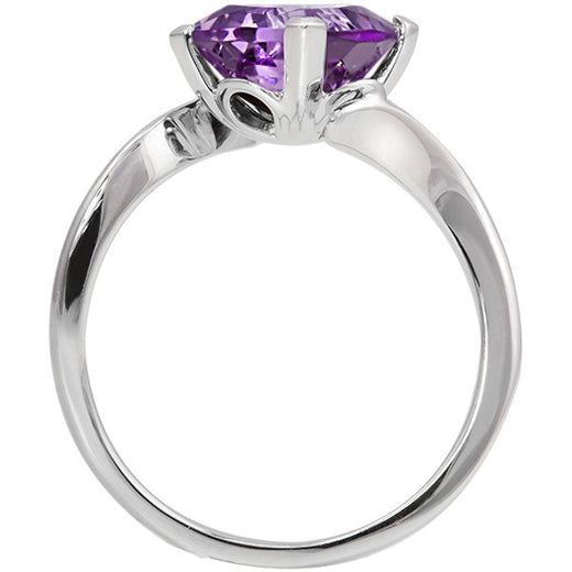 Amethyst Bypass White Gold Ring (RGJ10010-02)Front