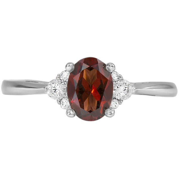 Garnet White Gold Ring (RGJ127M-15)Top