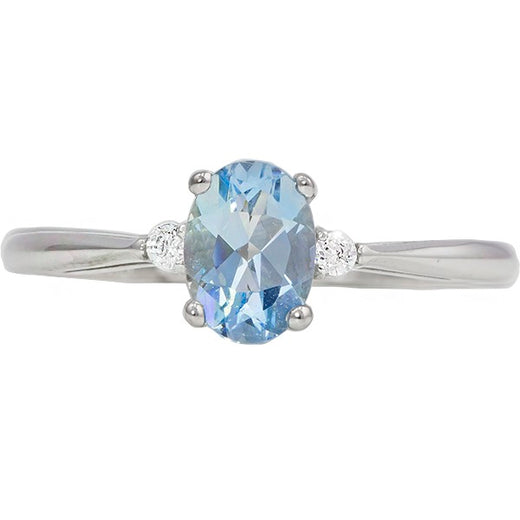 White Gold Aquamarine Ring (RGJ127T-11) Top