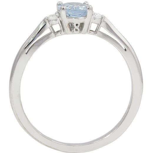 White Gold Aquamarine Ring (RGJ127T-11)Front