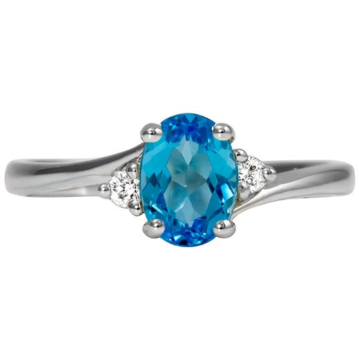 Blue Topaz White Gold Ring (RGJ127M-07)Top