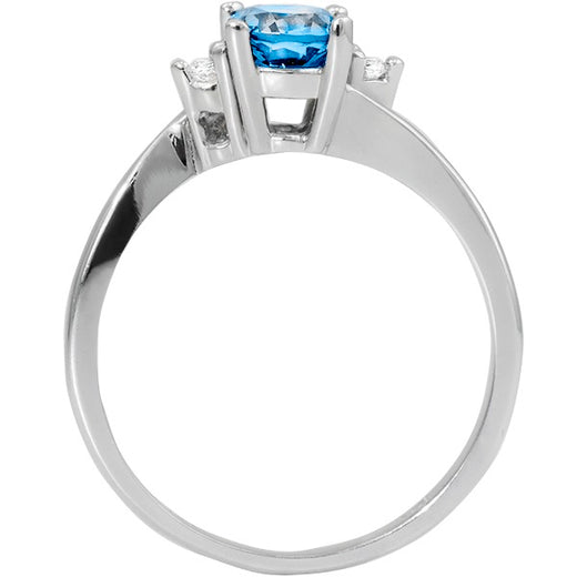 Blue Topaz White Gold Ring (RGJ127M-07)Front