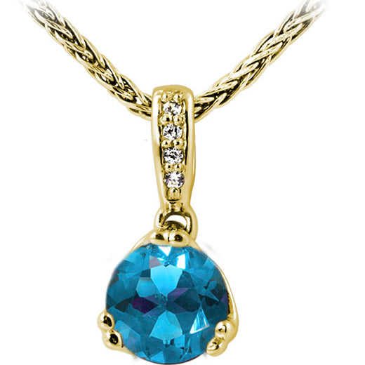 Blue Topaz and Diamond Pendant (RGJ20759-25)