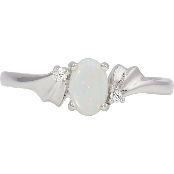 White Gold Opal and Diamond Ring (RGJ2083-29)Top