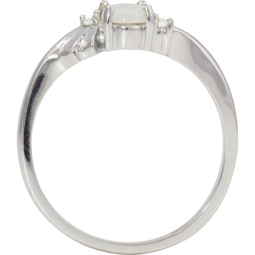 White Gold Opal and Diamond Ring (RGJ2083-29)Front