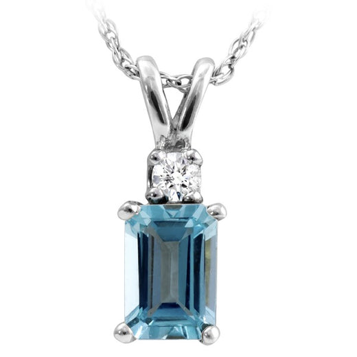 Aquamarine and Diamond White Gold Pendant ( RGJ2183-05)