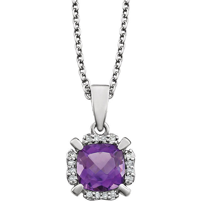 Amethyst and Diamonds White Gold Pendant (RGJ651953-60002) Front