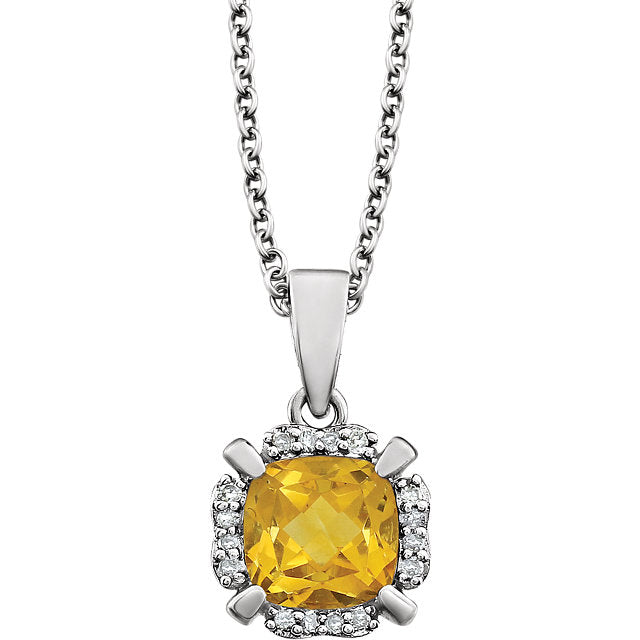 Citrine Pendant and Diamonds (651953-60011) Front