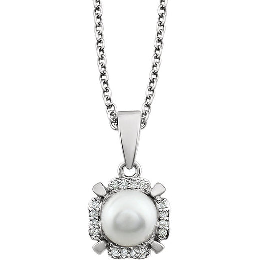 Pearl and Diamonds White Gold Pendant (RGJ651953-60006) Front
