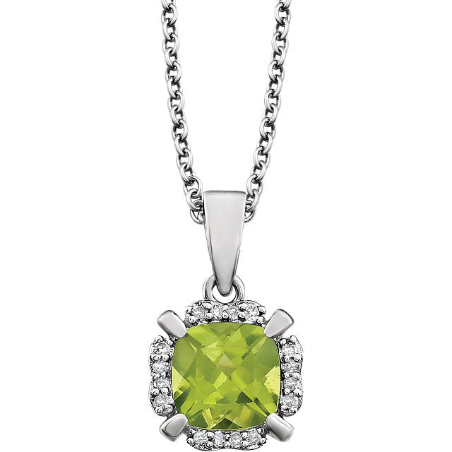 Peridot and Diamonds White Gold Pendant (RGJ651953-60008) Front