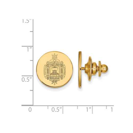 14k yellow gold United States Naval Academy crest lapel pin. Size