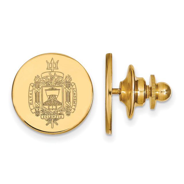 14k yellow gold United States Naval Academy crest lapel pin. Front
