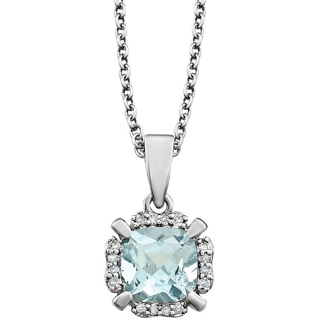 Aquamarine and Diamonds White Gold Pendant (RGJ651953-60003) Front