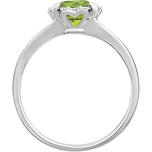 White Gold Peridot and Diamond Ring (RGJ651952-60008) Side