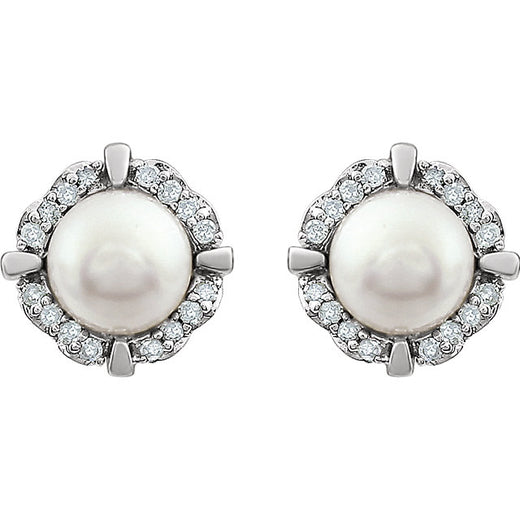 Pearl and Diamond White Gold Stud Earrings (RGJ651954-60010) Front