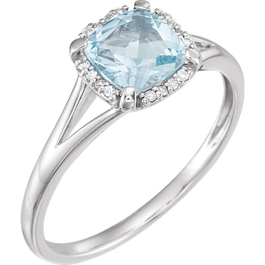 White Gold Sky Blue Topaz and Diamond Ring (RGJ651952-60012) Angled