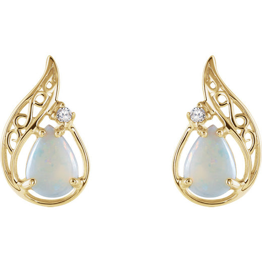 Opal and Diamond Gold Earrings (RGJ60837-2627980) Front