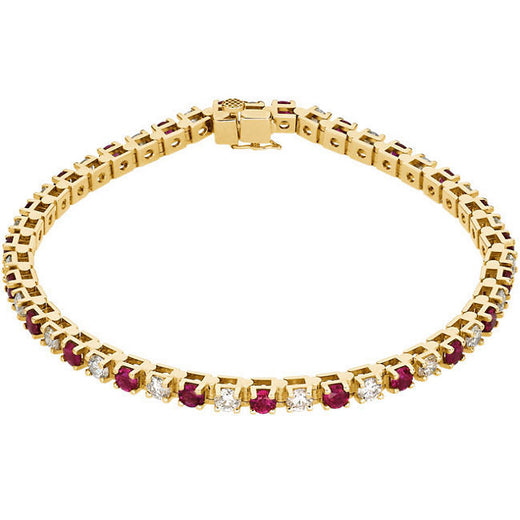 Ruby and Diamond Line Tennis Bracelet (RGJ62076) 14kt Yellow Gold