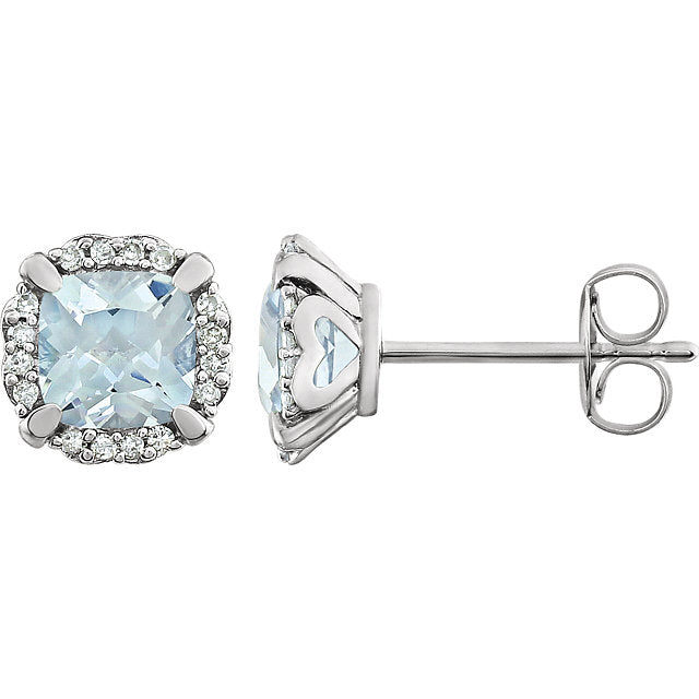 Aquamarine and Diamond White Gold Stud Earrings (RGJ651954-60003) Side