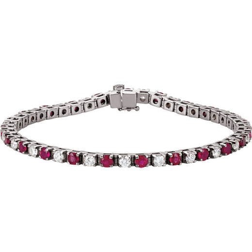 Ruby and Diamond Line Tennis Bracelet (RGJ62076) 14kt White Gold