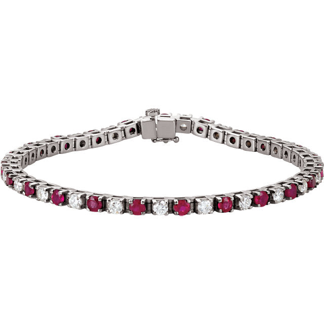 diamond carat bracelet white and ruby gold