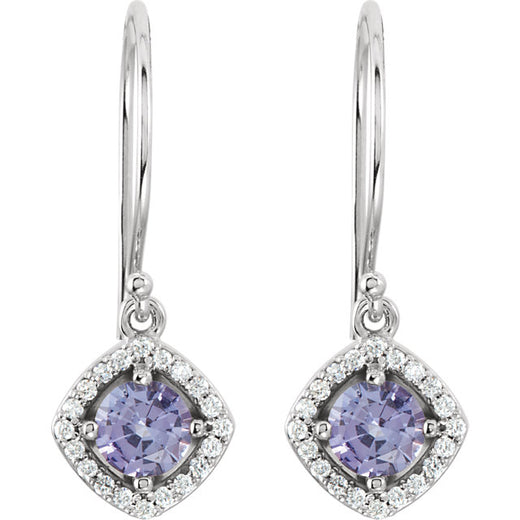 Tanzanite and Diamond Dangle Earrings (RGJ69709-70000) Front