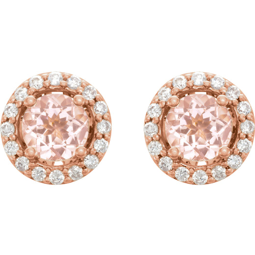 Morganite Diamond Stud Earrings (651986-60000) Front