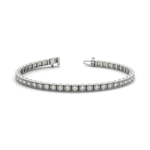 Diamond Tennis Vintage Gold Bracelet (RGJ70283) 14kt White Gold