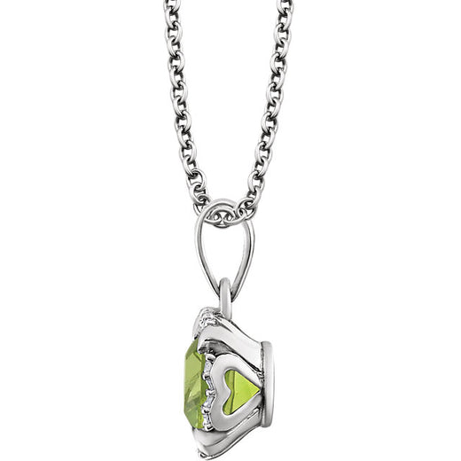 Peridot and Diamonds White Gold Pendant (RGJ651953-60008) Side