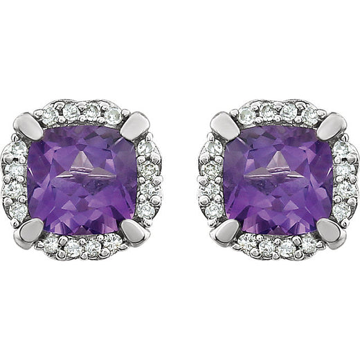 Amethyst and Diamond White Gold Stud Earrings (RGJ651954-60002) Front