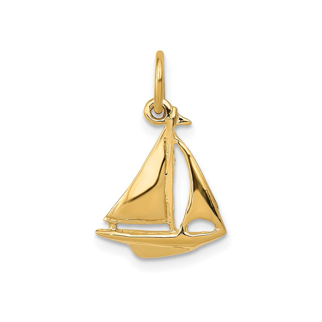 Sailboat charm in 14k yellow gold. Front
