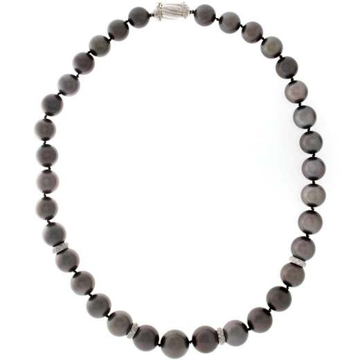 Tahitian Black Pearl and Diamond Rondelle Necklace (RGJ24-001) Whole