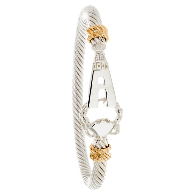 Annapolis Bracelet by Ron George Jewelers. Sterling silver, 14kt yellow gold, 5mm thick, 7in wrist.