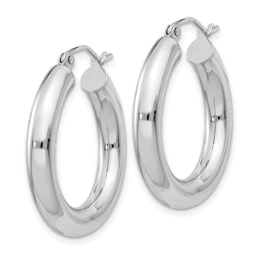 Sterling silver round hoop earrings, rhodium plated and 4mm thick. Angled