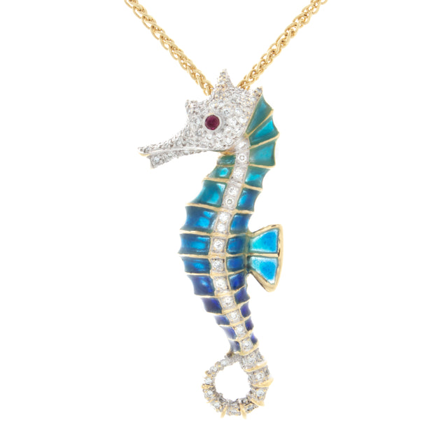 18kt Yellow Gold Enamel and Diamond Seahorse Pendant