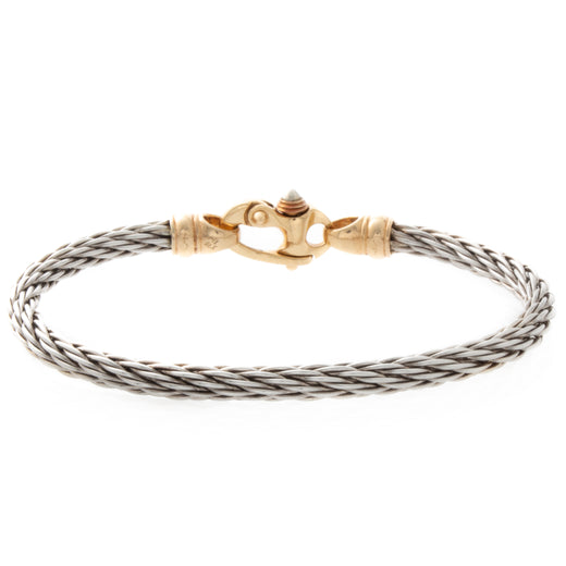 Sterling Silver and Gold Cable Bracelet Front