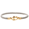 Sterling Silver and Gold Cable Bracelet Mariner's Clasp