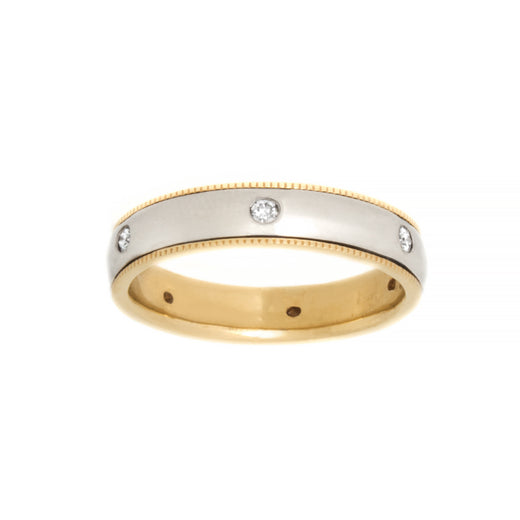 Diamond Two Tone Gold Wedding Band