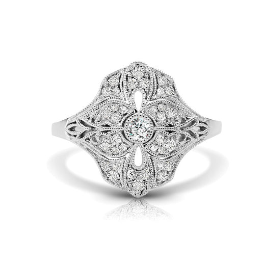 Diamond Vintage Style Ring (RGJS1DR106) Front