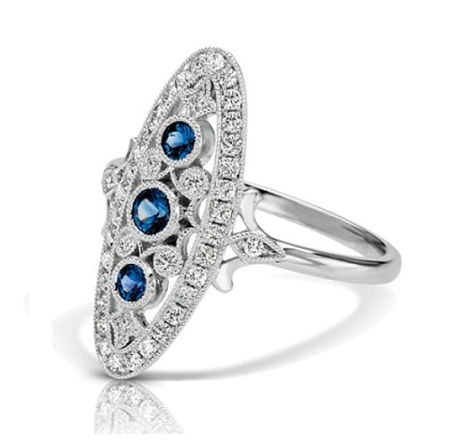 Sapphire and Diamond Vintage Style Ring (RGJS1DR110-SA) Side
