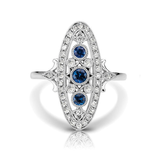 Sapphire and Diamond Vintage Style Ring (RGJS1DR110-SA) Front