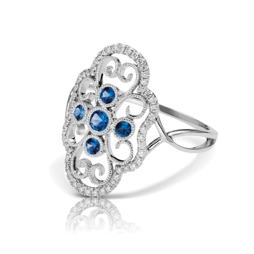Sapphire and Diamond Vintage Style Ring (RGJS1DR111-SA) Side