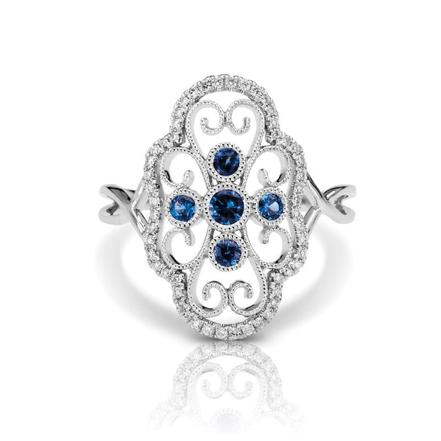 Sapphire and Diamond Vintage Style Ring (RGJS1DR111-SA) Front