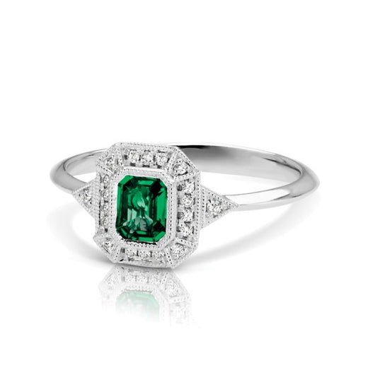 Emerald and Diamond Vintage Style Ring (RGJS1DR135-EM) Side