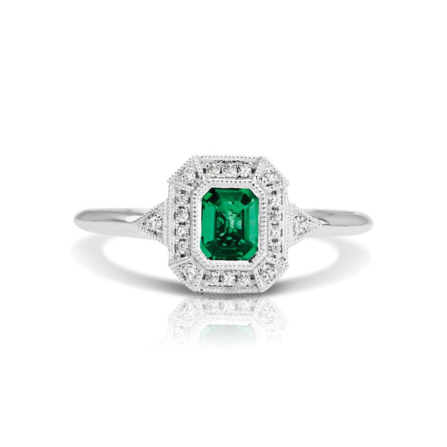 Emerald and Diamond Vintage Style Ring (RGJS1DR135-EM) Front