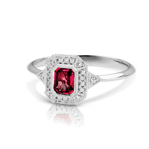 Ruby and Diamond Vintage Style Ring (RGJS1DR135-RU) Side
