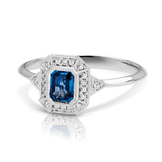 Sapphire and Diamond Vintage Style Ring (RGJS1DR135-SA) Side